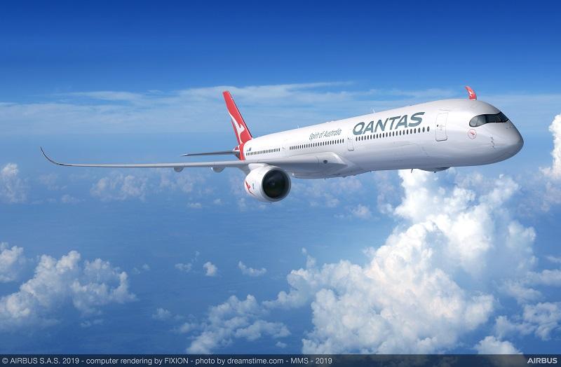 Qantas a lancé ces dernières semaines les premiers vols-tests de son projet « Sunrise », d'une vingtaine d'heures entre l'Europe et l'Est de l'Australie. Ces vols seront effectués en Airbus A350-1000. Une douzaine d'appareils maximum devraient être commandés © Qantas