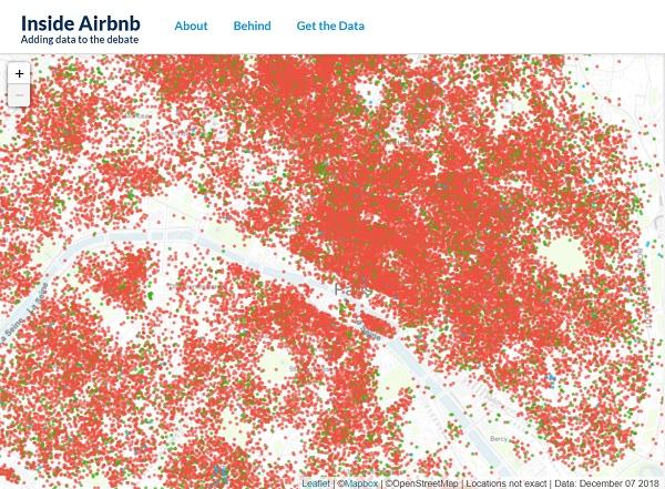 La carte des locations Airbnb à Paris selon le site Inside Airbnb, au 7 décembre 2019 plus de 59 000 logements parisiens sont sur Airbnb - Crédit photo : Inside Airbnb
