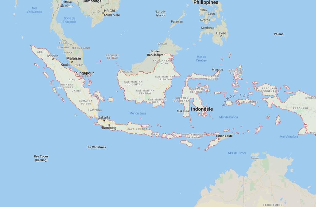De fortes pluies frappent actuellement différentes régions de l'Indonésie - DR Google Map