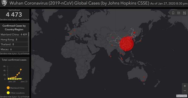 Il est possible de suivre l'évolution en temps réel et partout dans le monde de l'évolution de l'épidémie grâce à l'université américaine Johns-Hopkins - Crédit photo : l'université américaine Johns-Hopkins