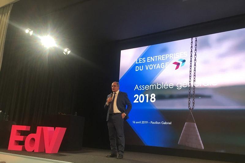 Jean-Pierre Mas, président des EDV, lors de l'Assemblée générale de 2018 - Photo TM