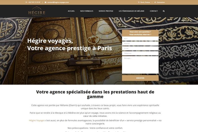Pour l'heure, pas de trace sur le site d'Hégire Voyages, de garant financier, de RCP ou de numéro d'immatriculation - DR : Capture d'écran Hégire Voyages