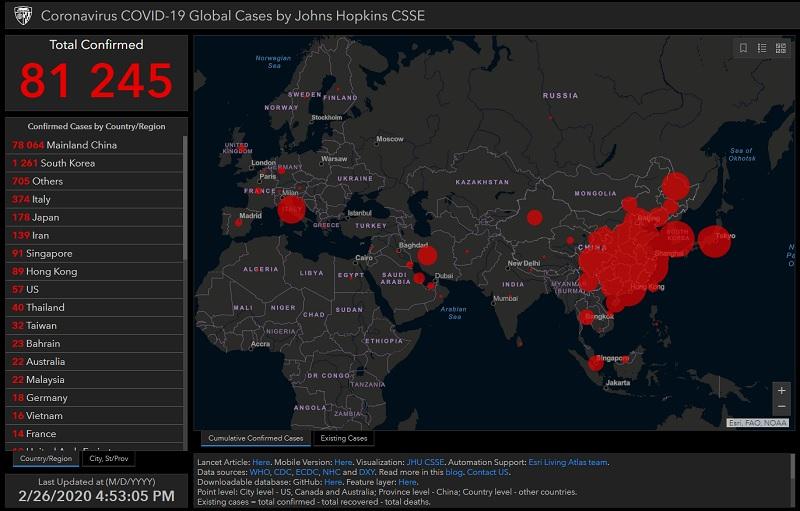 Carte qui recense en temps réel la propagation de l'épidémie de Coronavirus - DR : Université américaine Johns-Hopkins