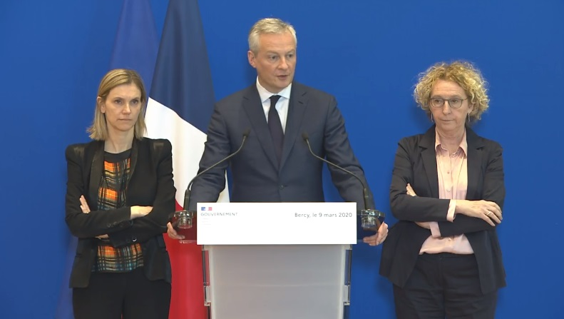 Bruno Le Maire, ministre de l'Economie et des Finances, Muriel Pénicaud, ministre du Travail, et Agnès Pannier-Runacher, secrétaire d'Etat auprès du ministre de l'Economie et des Finance - Capture écran