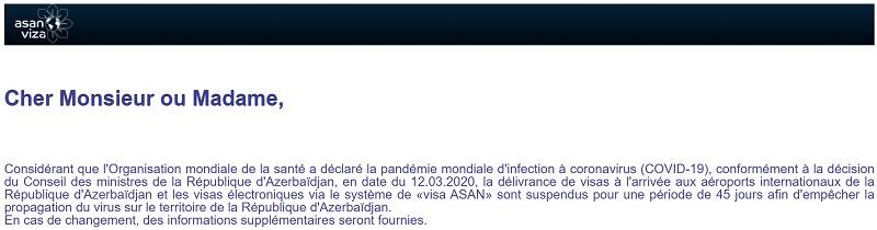 Azerbaïdjan: Visa électronique et à l'arrivée ne sont plus délivrés
