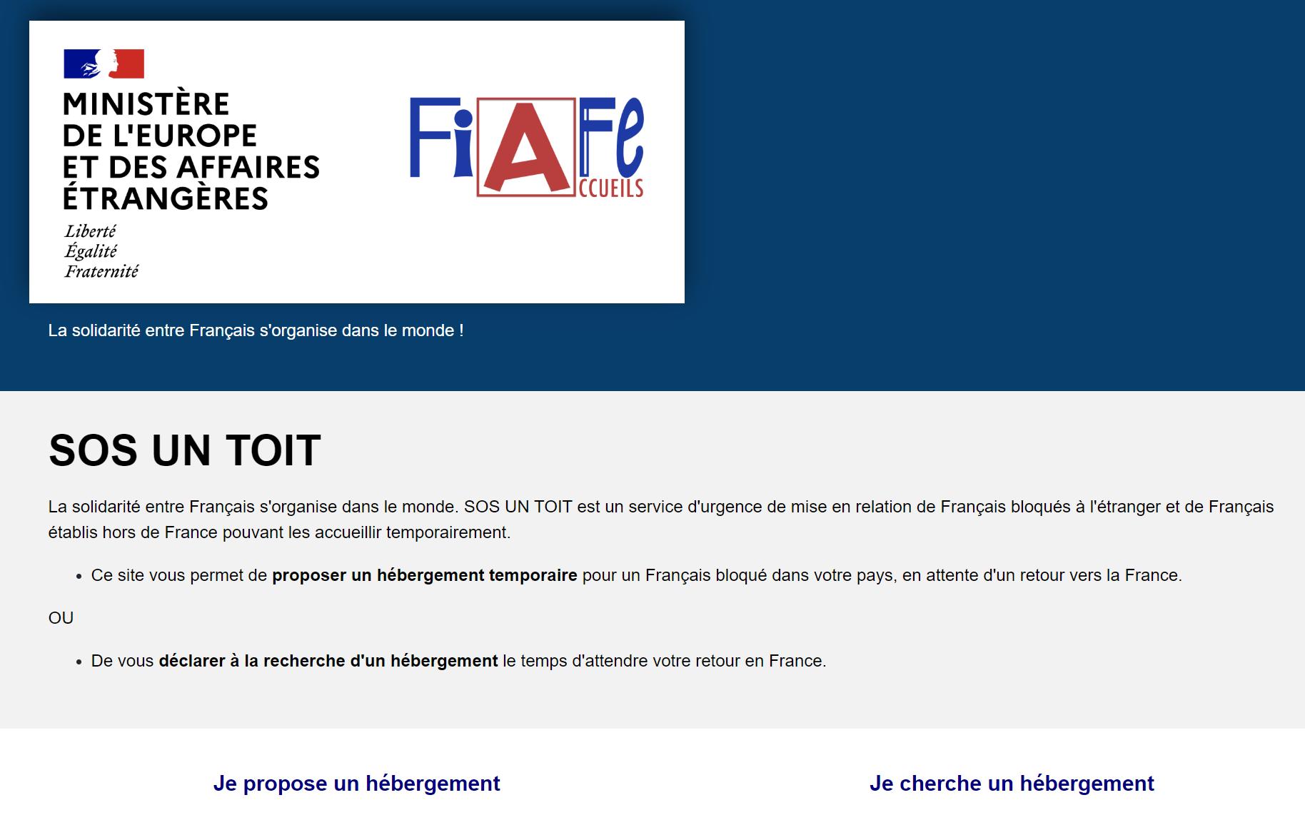 SOSunToit.fr, un dépannage pour les Français en attente d'un rapatriement /capture écran