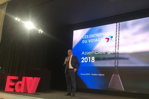 ean-Pierre Mas, président des EDV, lors de l'Assemblée générale de 2018 - Photo TM