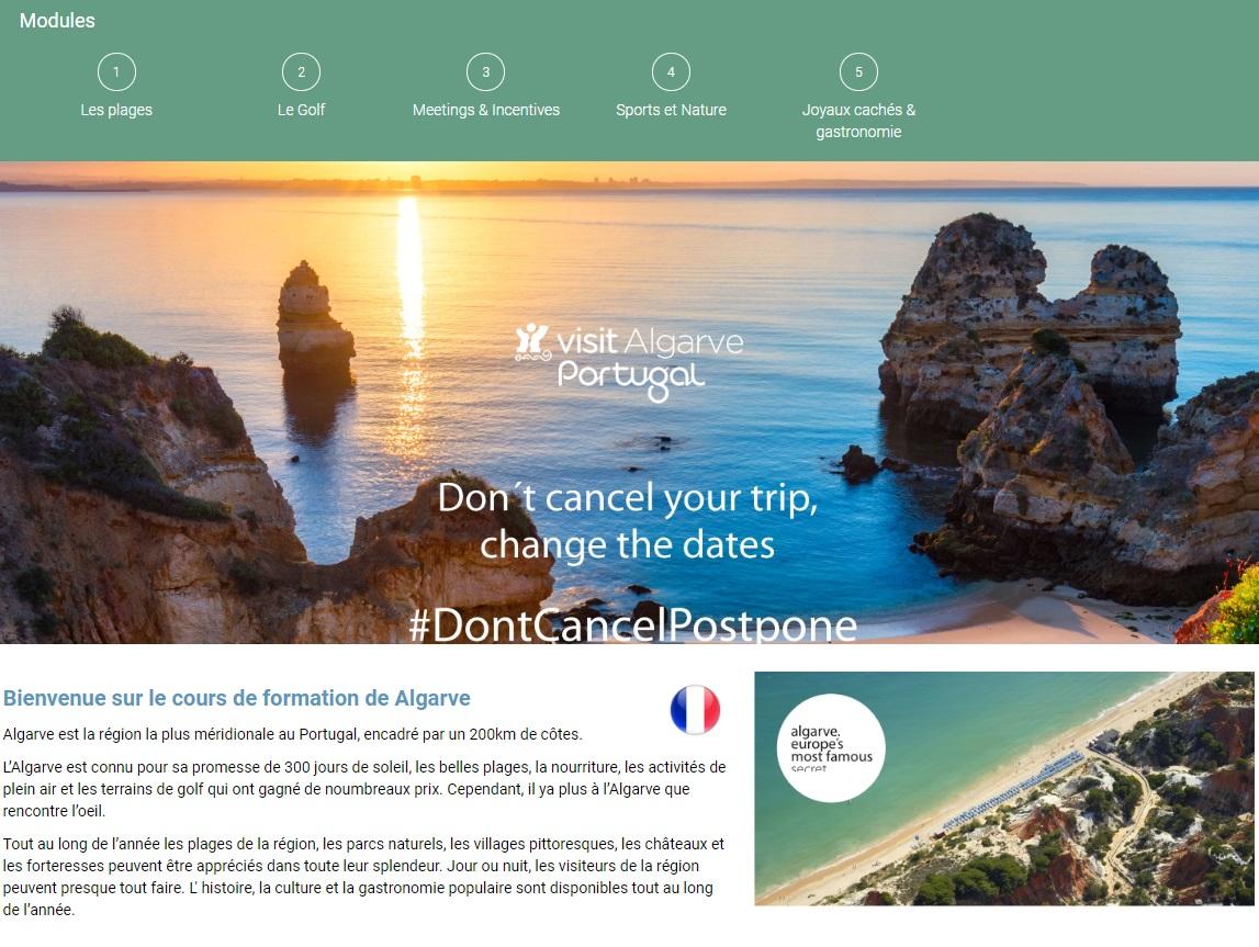Les principaux objectifs de ce programme de formation en ligne sont de renforcer les connaissances des professionnels du tourisme sur l'Algarve - DR