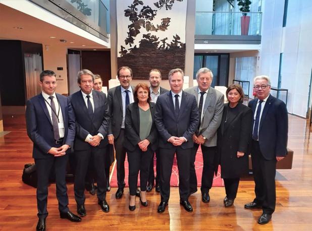 Laurent Queige (derrière Jean-Baptiste Lemoyne) a annoncé que les start-up bénéficieront bien des mesures du plan de relance - DR