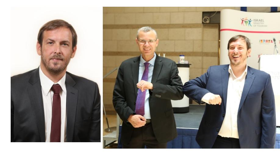 cérémonie de passation entre Yariv Levin, le ministre sortant - et nouveau président du Parlement - et le nouveau ministre Asaf Zamir, issu du parti Bleu-Blanc (centre-gauche) /crédit photo dr