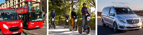 Nos services: Bus touristiques Hop-On Hop-Off / Gyropodes Segway® / Transferts et Excursions