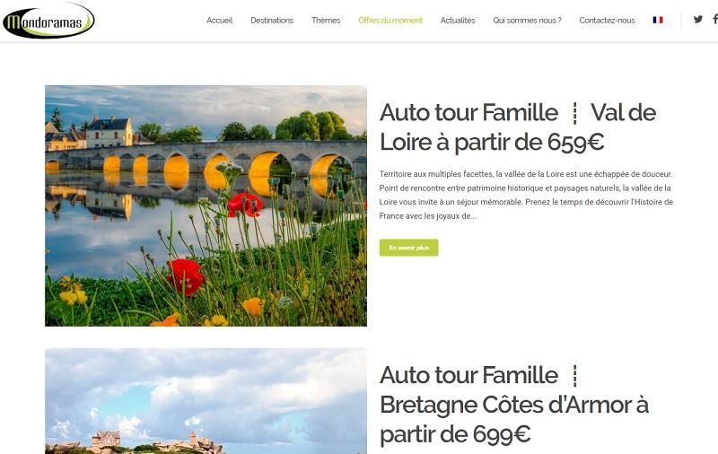 Mondoramas déploie une gamme d'offres dans le Puy-de-Dôme, le Val de Loire, le Gers, le Périgord, les Pyrénées, Toulouse, des produits montagne et redéveloppe le Canal du Midi - DR : Capture d'écran site web Mondoramas