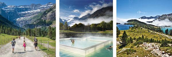Cirque de Gavarnie Unesco / DR Pierre Meyer - Balnéa / DR Eric Martin - Route des lacs de haute montagne / DR Shutterstock