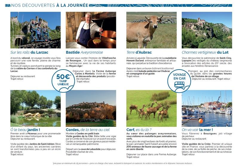 Le voyagiste a édité un petit flyer de 4 pages contenant des idées de sorties à la journée - DR : Voyages Ruban Bleu