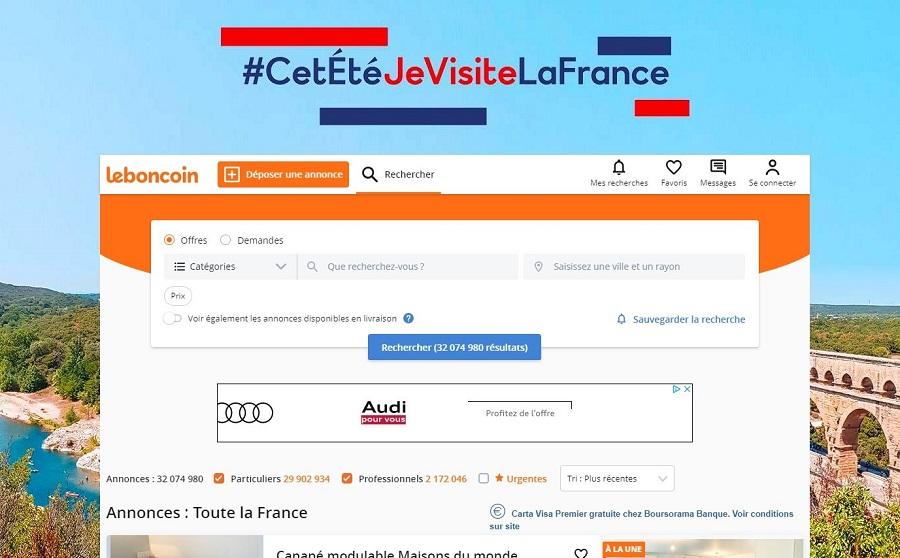 Leboncoin met à disposition un équivalent de 220 000 € de publicités pour la campagne #CetÉtéJeVisiteLaFrance - DR