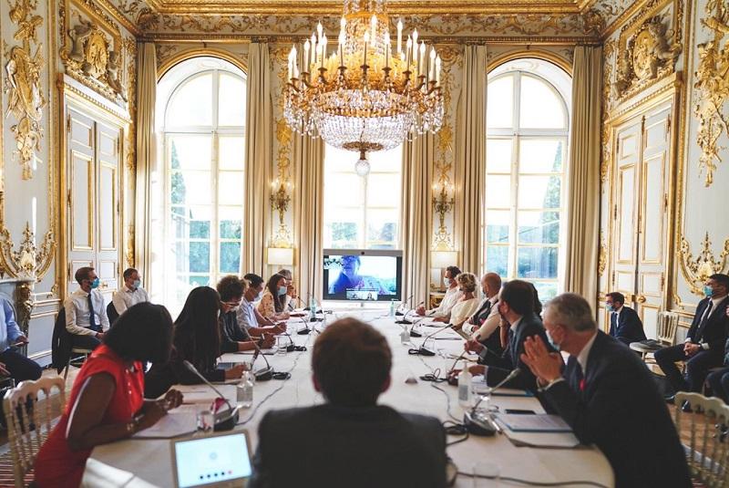 Toute la French Tech avait rendez-vous à l'Elysée avec le président, qui a reçu la délégation polynésienne - Crédit photo : compte Twitter Cédric O