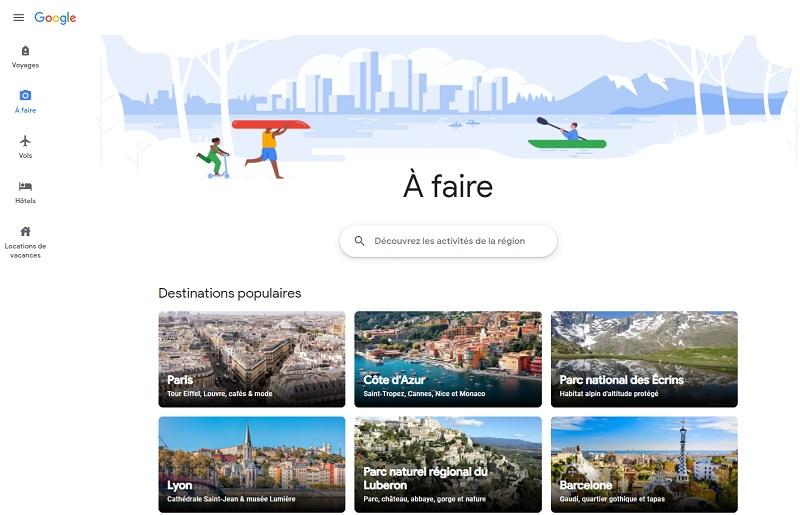 """Google a tout une liste de produit dans le voyage, comme Hotels, Flight, Location de courte durée et maintenant les expériences, avec la page """"A faire"""" sur la version française - DR"""