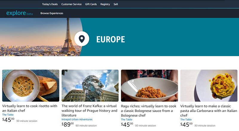 Amazon propose avec Amazon Exploredes sessions individuelles entre l'hôte et le spectateur pour visiter un lieu - Capture écran