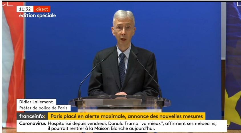 Didier Lallement, Préfet de police de Paris a tenu une conférence de presse ce lundi 5 octobre 2020 - DR