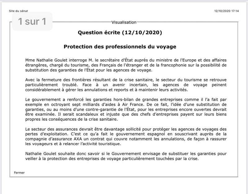 Et si après Air France, l'Etat garantissait les agences de voyages ? C'est le projet de la sénatrice Nathalie Goulet !