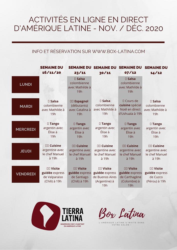 Le programme des activités de Tierra Latina- DR