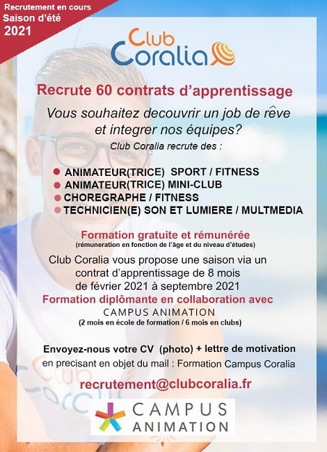 Club Coralia recrute 60 contrats d'apprentissage
