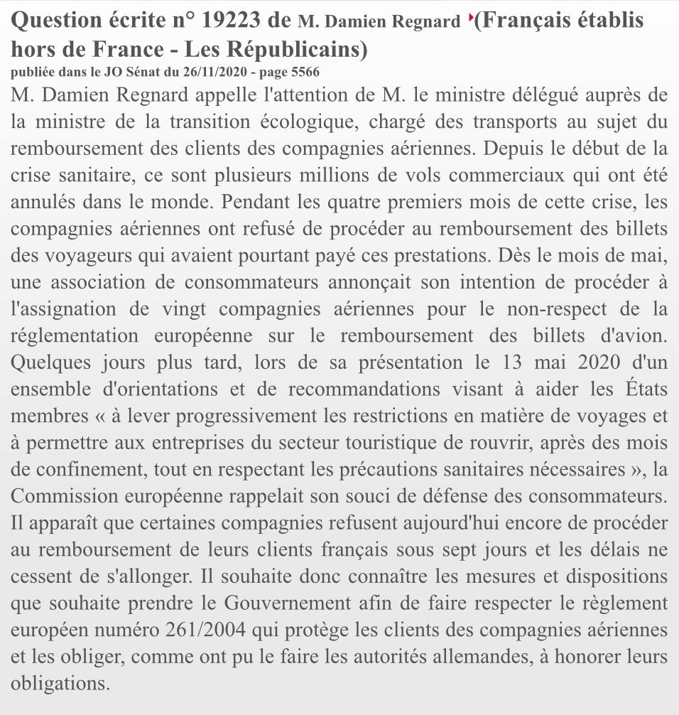 La question de Damien Regnard à l'intention du Ministre des Transports - Crédit photo : Journal Officiel
