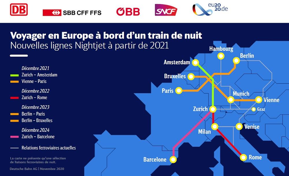 Decouvrez la carte des trains de nuit européens baptisés Nightjet - dr