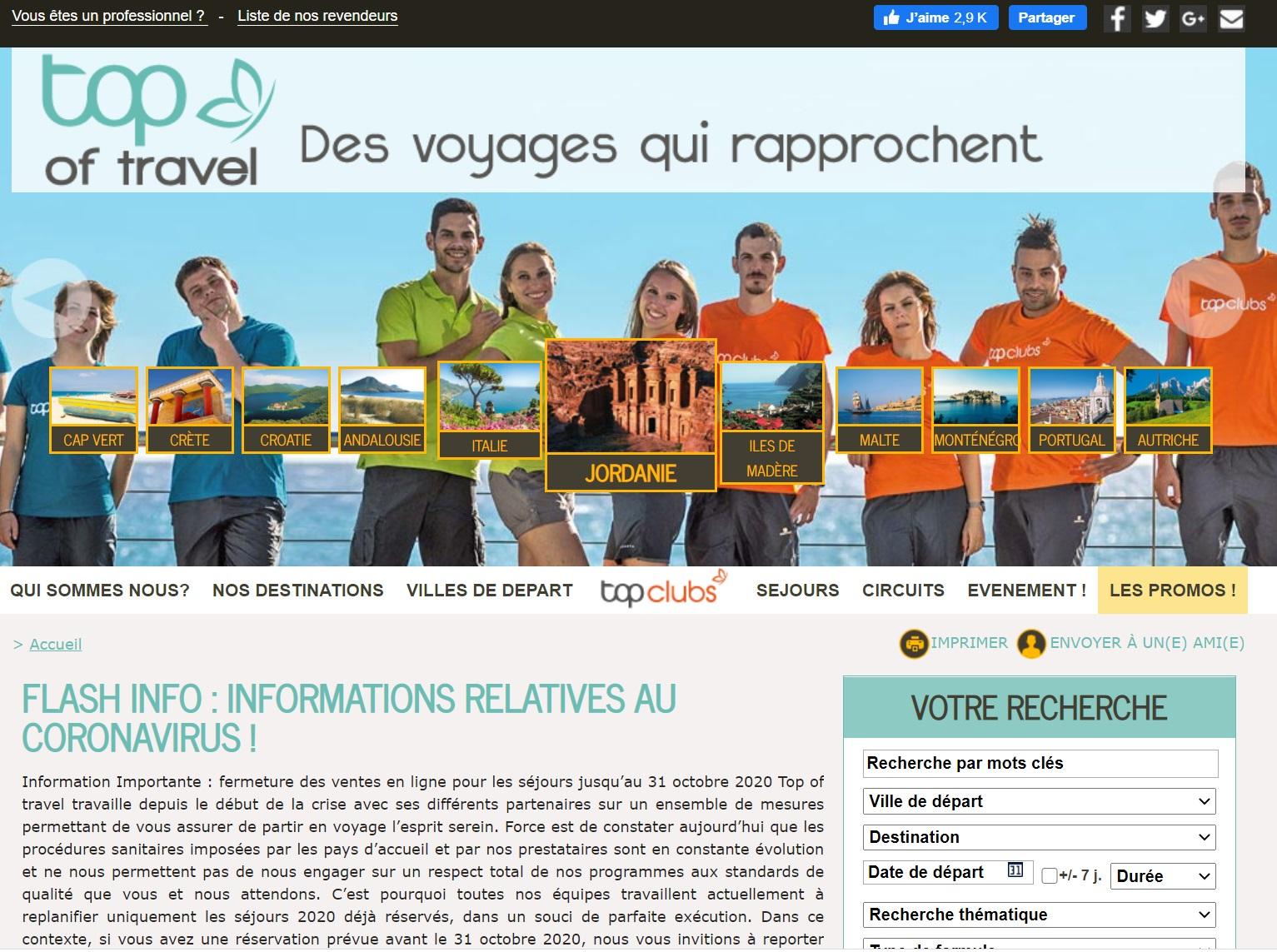 Le site web de Top of travel - DR