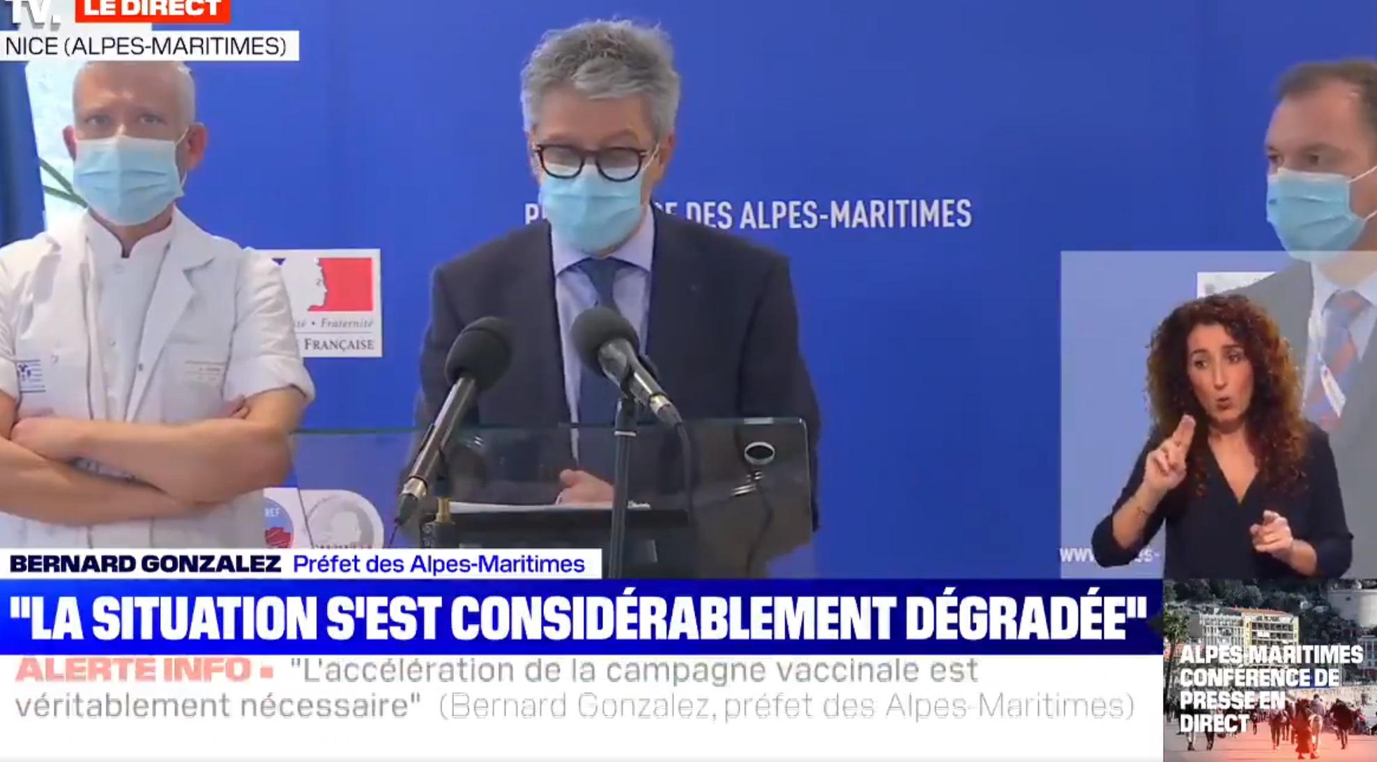 Le préfet des Alpes-Maritimes lors de sa conférence de presse - DR