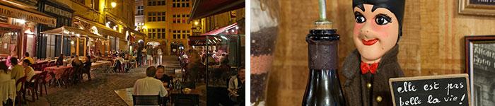 """Vieux Lyon - Terrasses de restaurants © P. Blanc/Auvergne-Rhône-Alpes Tourisme et Lyon - Guignol au restaurant La Meunière, """"bouchon"""" lyonnais © M. Kirchgessner"""