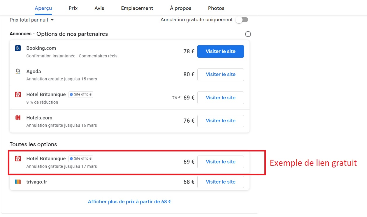 Expmple de lien de réservation désormais gratuit -Capture écran