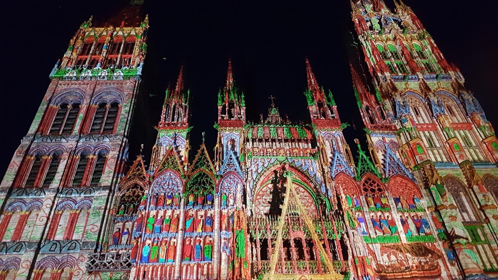 Cathédrale de lumière à Rouen à l'occasion d'une fête médiévale - DR : Séverine Frères / Normandie Tourisme