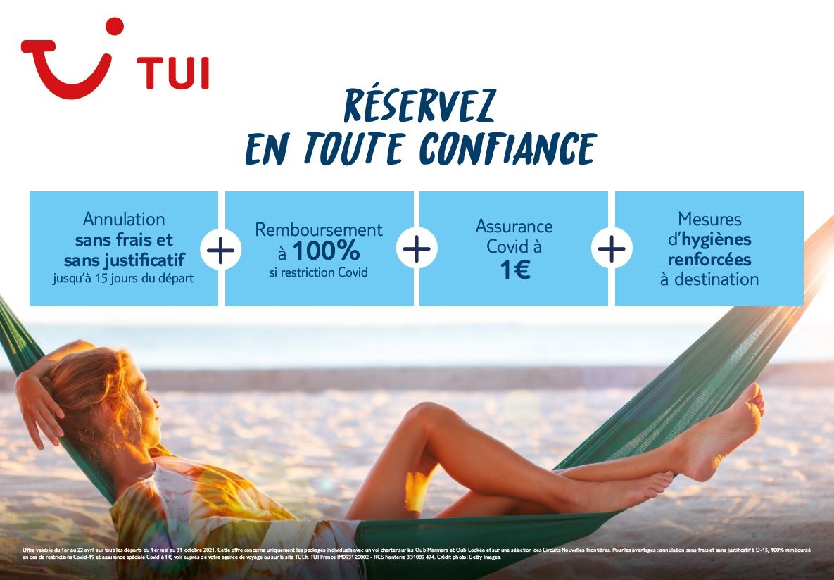 """Eté 2021 : TUI France met en place des garanties pour réserver """"en confiance"""""""