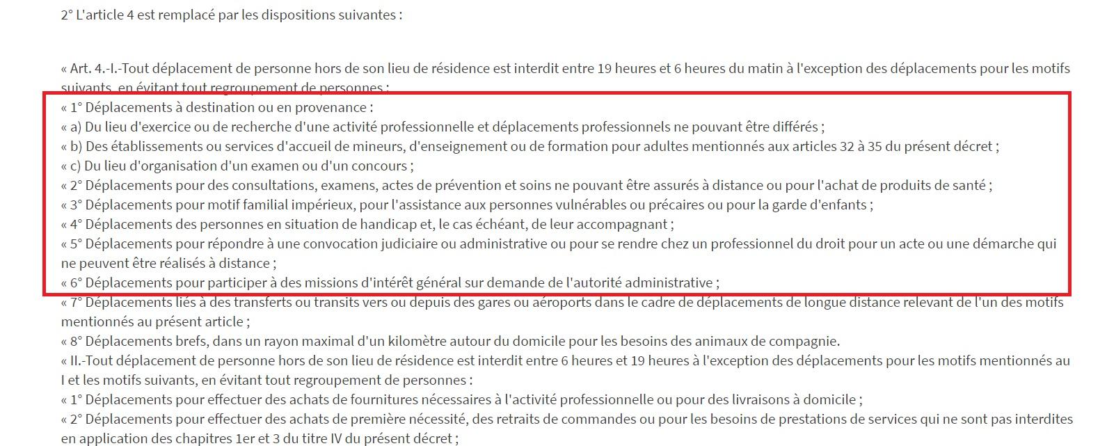 (CLIQUEZ POUR AGRANDIR) La liste des motifs qui justifient un déplacement- Capture écran du décret du 2 avril 2021