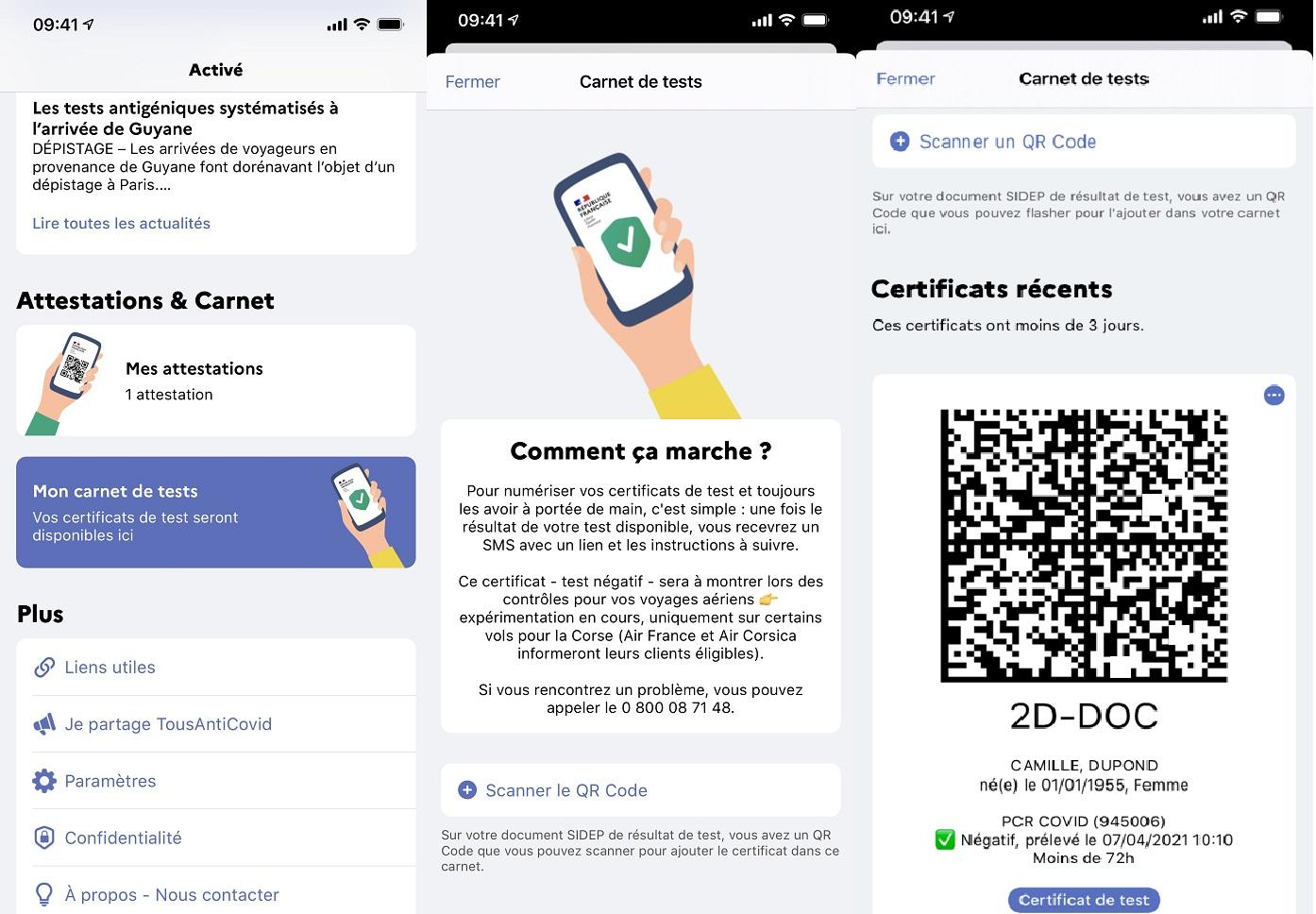 Voici les premiers visuels de TousAntiCovid-Carnet le passeport sanitaire français - DR
