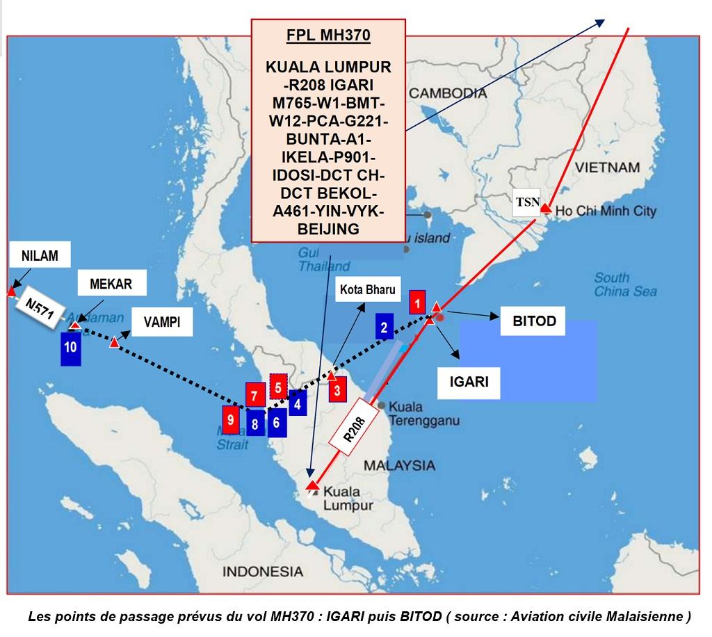 Les points de passages prévus du vol MH 370 - DR