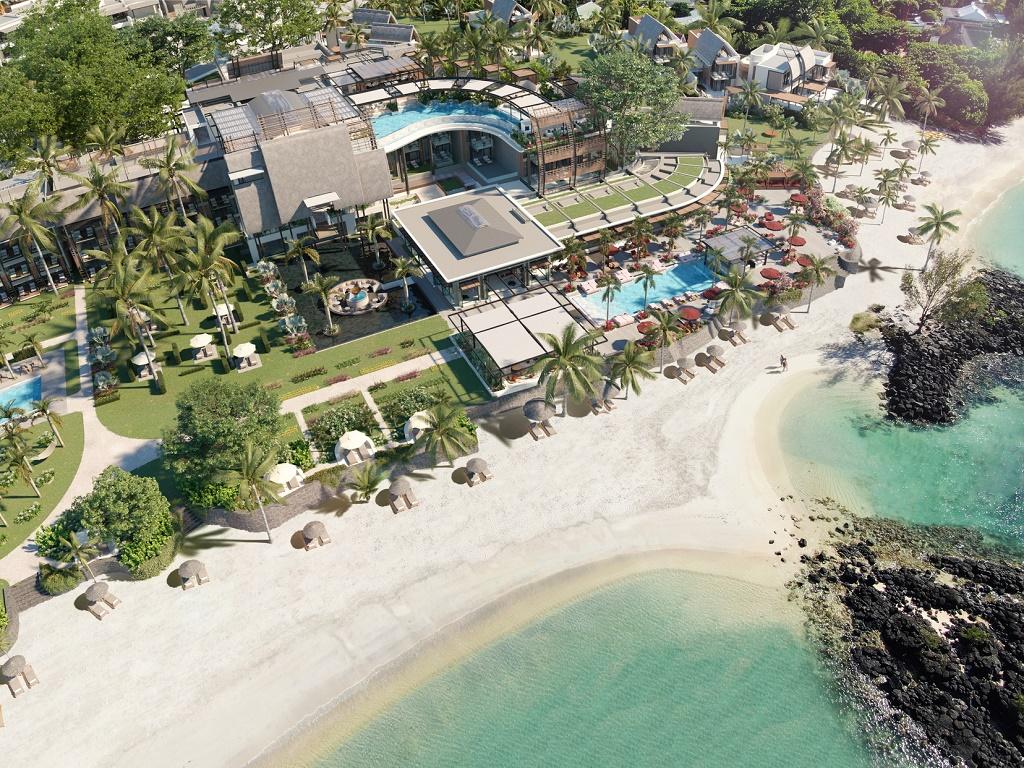 Vue aérienne du LUX* Grand Baie Resort & Residences à l'Ile Maurice - DR
