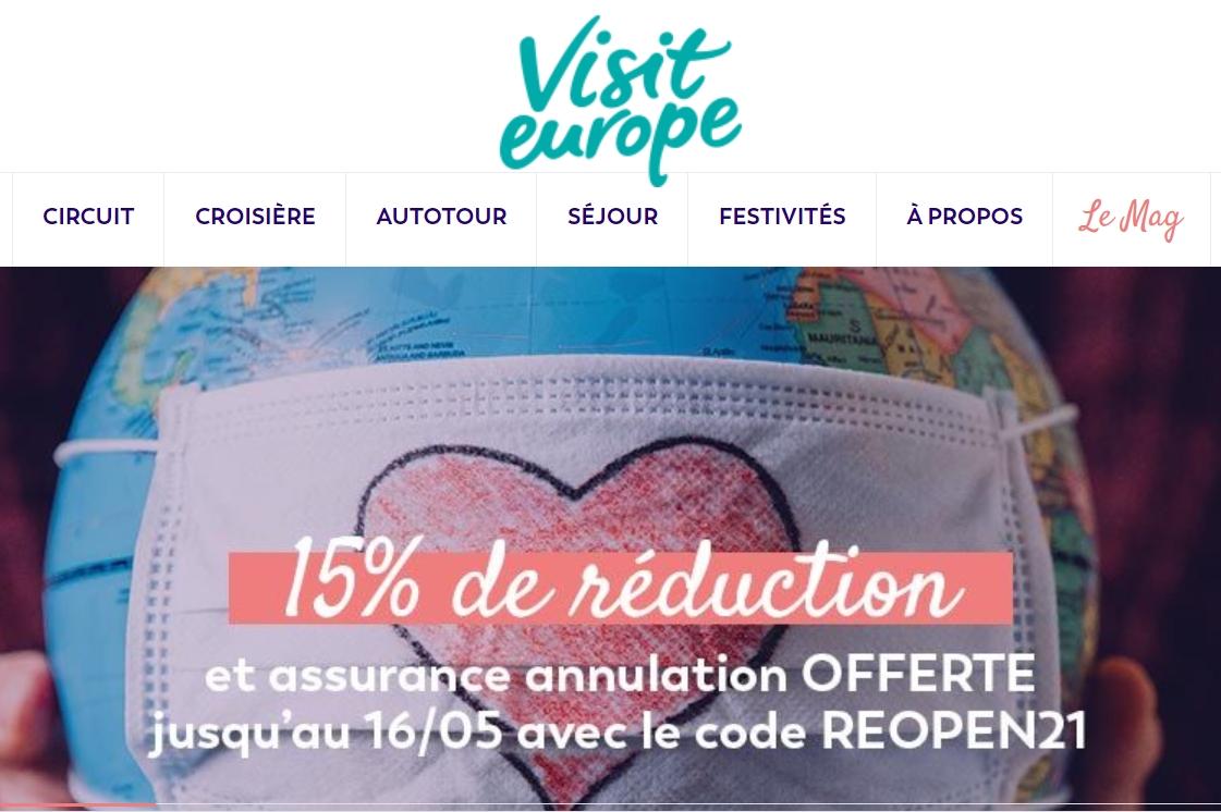 Visit Europe propose 15% de réduction sur la totalité de son offre à partir du 3 mai 2021