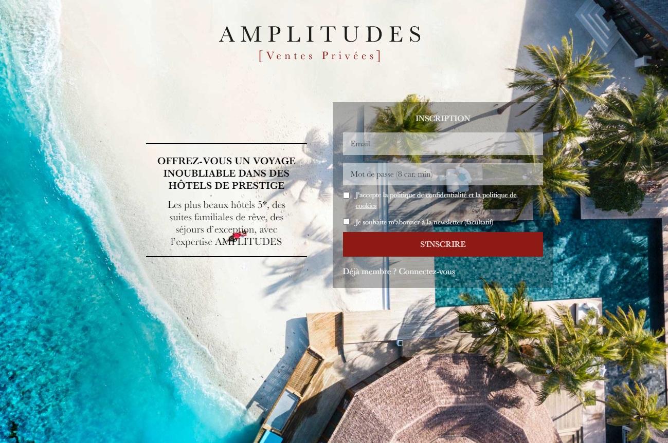 Le nouveau site d'Amplitudes dédié aux ventes privées - DR
