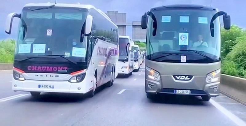 Les membres du Collectif Des Autocaristes Indépendants (CAI) se sont rassemblés en Île-de-France, avec quelque 120 autocars - DR : CAI