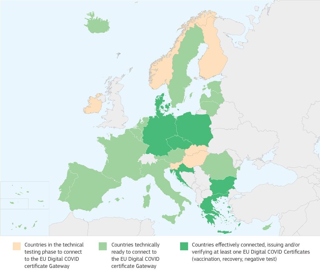 La Bulgarie, la Tchéquie, le Danemark, l'Allemagne, la Grèce, la Croatie et la Pologne ont décidé de se connecter au service passerelle et ont commencé à délivrer les premiers certificats de l'UE - DR : European Commission