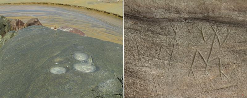 © GEK Polissoirs amérindiens sur la plage /  Kourou_roches gravées de la Carapa
