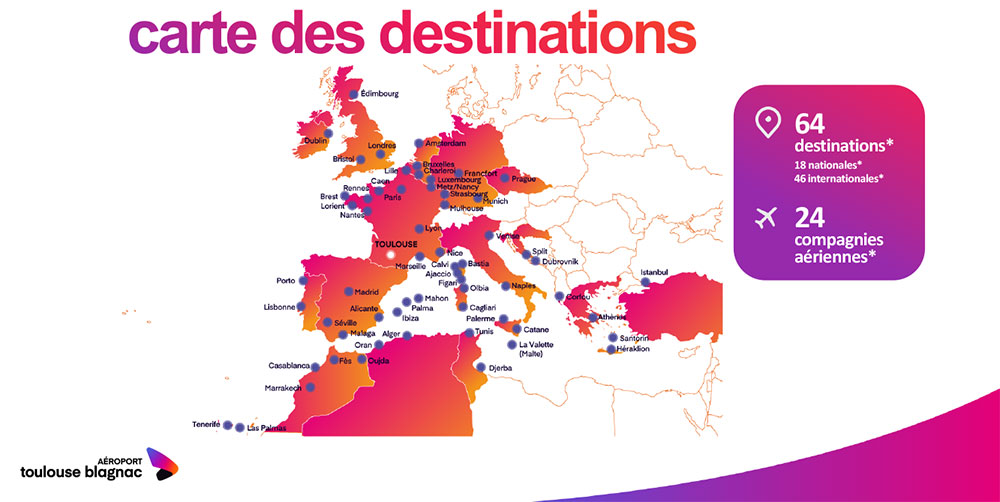 Aéroport de Toulouse-Blagnac : carte des destinations