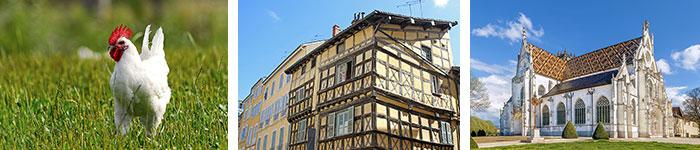 Poulet de Bresse © Alain Doire BFCT - Monastère de Brou © Shutterstock - Maison Bressanne © shutterstock