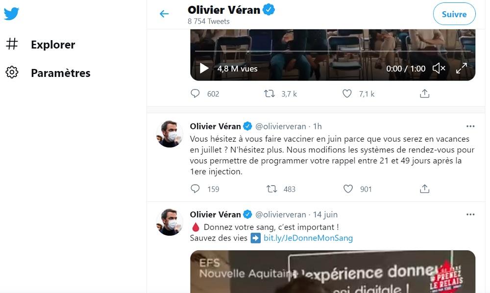 Dans un Tweet Olivier Véran, le ministre de la Santé annonce une réduction du délai entre les deux injections d'un vaccin contre le coronavirus - Capture écran