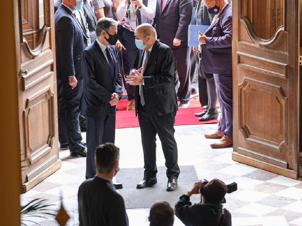 Jean-Yves Le Drian et Antony  Blinken, secrétaire d'Etat des USA ont notamment évoqué l'ouverture des frontières entre la France et les USA - DR Capture écran