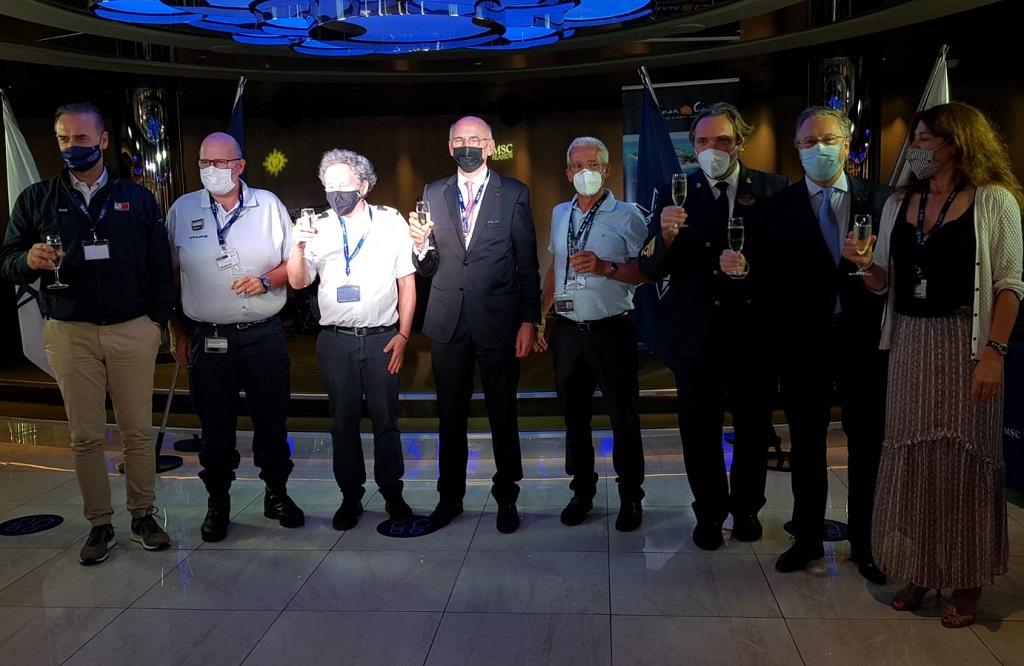 Croisiéristes comme représentants locaux du secteur ont célébré le départ des croisières à Marseille, ce 4 juillet 2021, après 17 mois d'arrêt - DR : C.E.