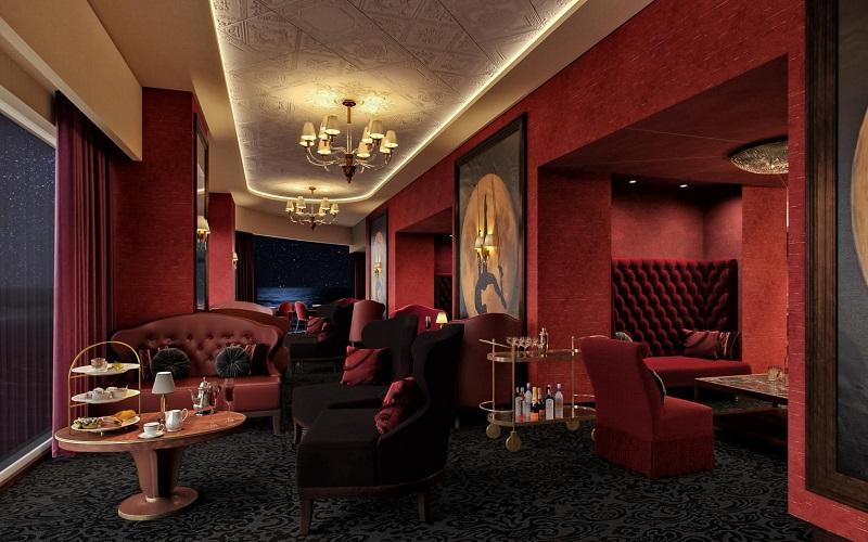Inspiré des cabarets français des années 1920, ce lounge s'étend sur deux ponts près de l'eau, offrant des vues sur la mer à travers ses murs de verre. Il est doté de 400 places - DR : MSC Croisières