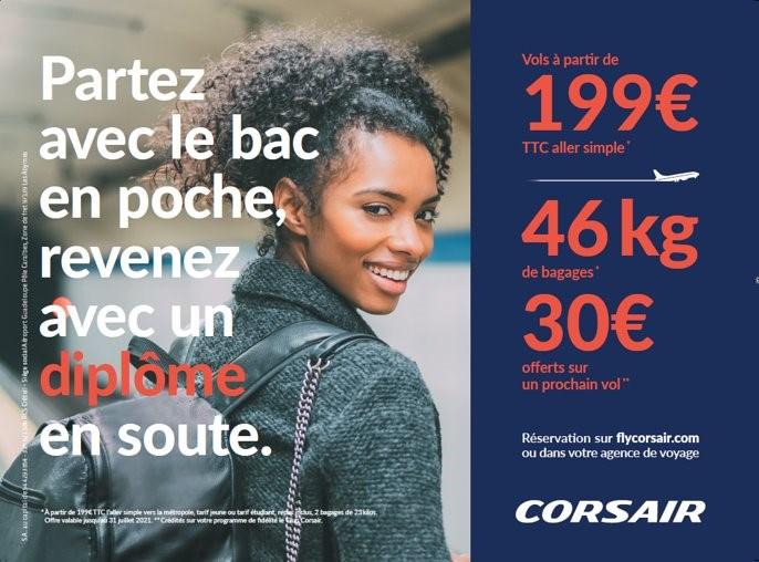 """Corsair lance la campagne """"Bac en poche"""" à l'attention des étudiants des DOM TOM et de Côte d'Ivoire - DR"""